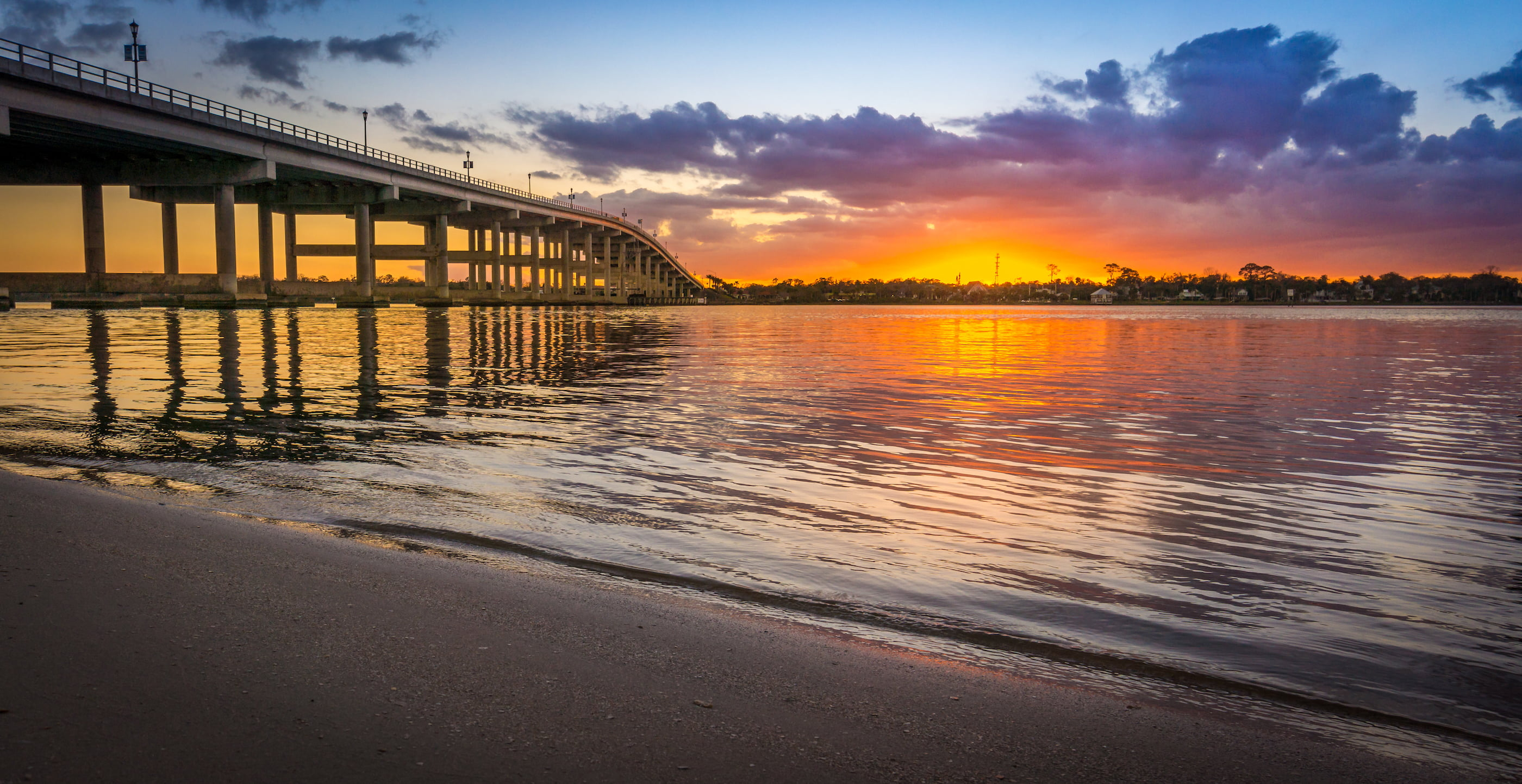 Florida Bridge into the Sunset